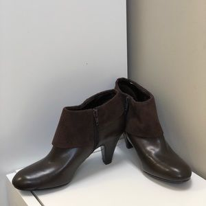 """Brown suede and pleather 2"""" heeled booties"""